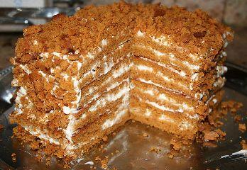 Медовый торт со сливочным кремом (без раскатки коржей)