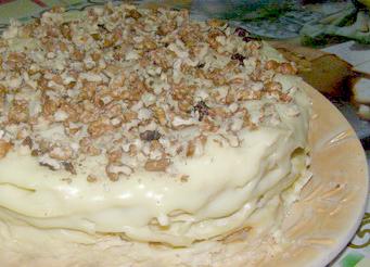Торт «Наполеон Королевский» с двумя кремами и орехами