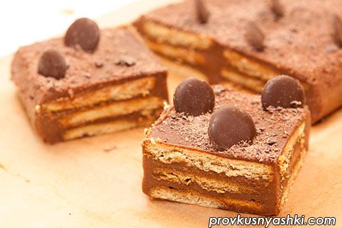 Торт «Холодный» из печенья с шоколадно-желейной прослойкой