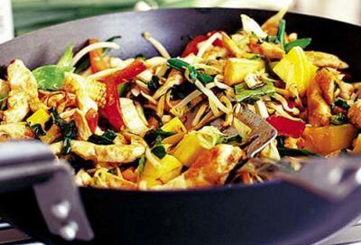 Куриное мясо, жаренное с манго, имбирем и овощами, по-восточному