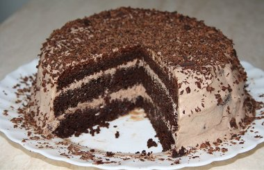 Торт «Шоколад на кипятке» со сливочно-шоколадным кремом