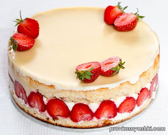 Торт с клубникой (похож на Торт Фрезье)